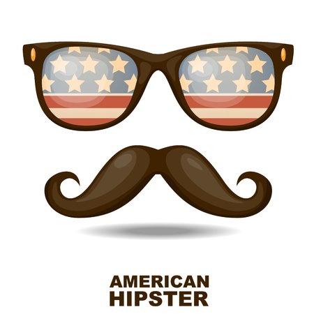 Sunglasses and mustaches  American flag  Vector illustration Vector