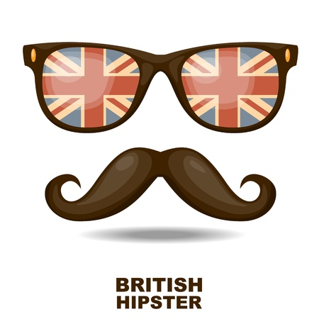mustaches: Sunglasses and mustaches  British flag  Vector illustration