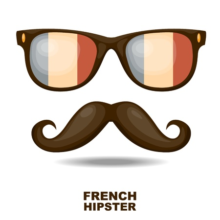 homem: Óculos de sol e bigodes bandeira francesa Vector ilustração
