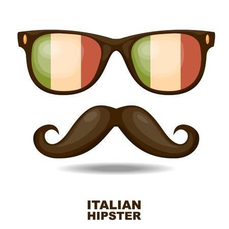 italia: Sunglasses and moustaches  Italian flag  Vector illustration Illustration