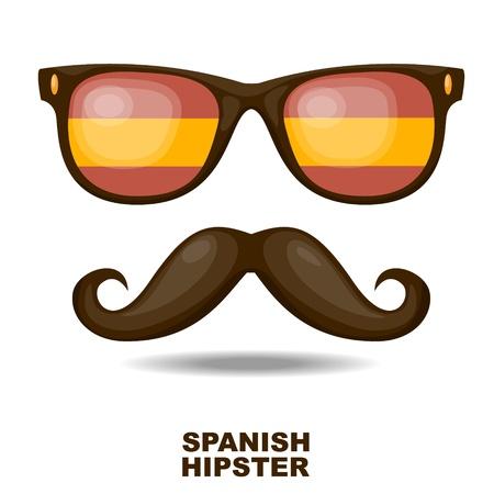 bandiera spagnola: Occhiali da sole e baffi bandiera spagnola illustrazione