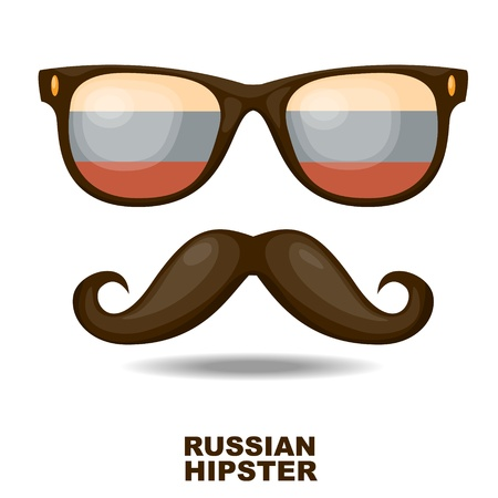 russian flag: Sunglasses and moustaches  Russian flag  Vector illustration Illustration
