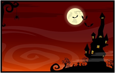 Red banner with the castle on a Halloween theme