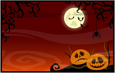 Red background with pumpkins on a Halloween theme Vector