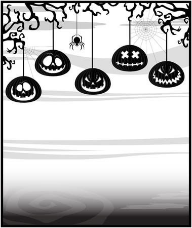 gloomy: Gloomy background with pumpkins on a theme of Halloween Illustration