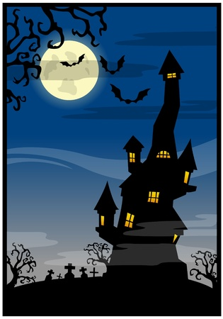 Blue background with the castle on a Halloween theme Vector