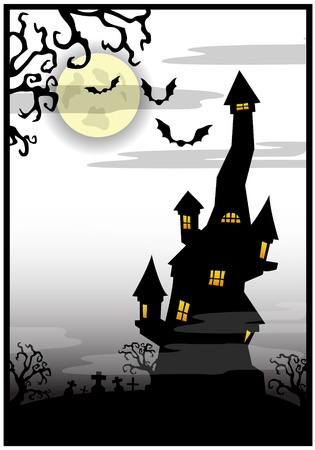 White background with the castle on a Halloween theme Vector