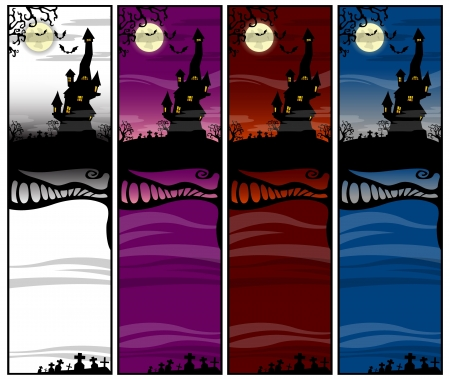 Color strips with Castle on a Halloween theme Vector