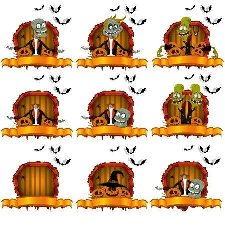 The set of zombie in the frame on the Halloween theme Vector