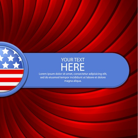 Red background on the theme of July 4th with a blue banner illustration Vector