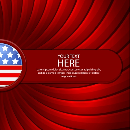 Red background on the theme of July 4th with a red banner Vector