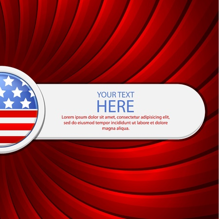 Red background on the theme of July 4th with a white banner illustration Vector