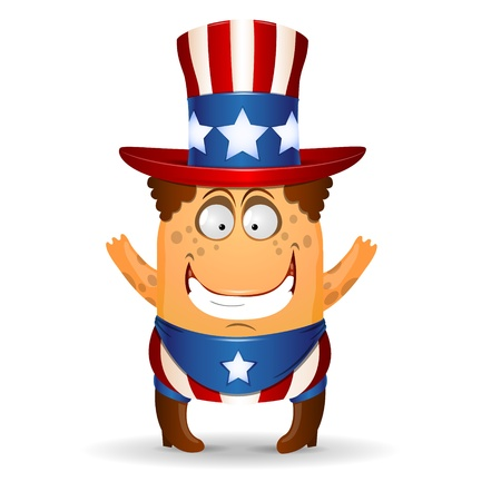 The amusing little man in a hat for July 4th illustration Vector