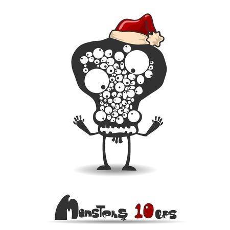 Black monster  Christmas theme  Vector illustration 10 eps Vector