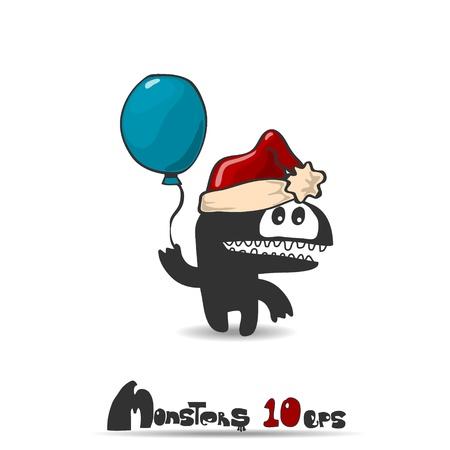 Black monster  Christmas theme  Vector illustration 10 eps Stock Vector - 20744429