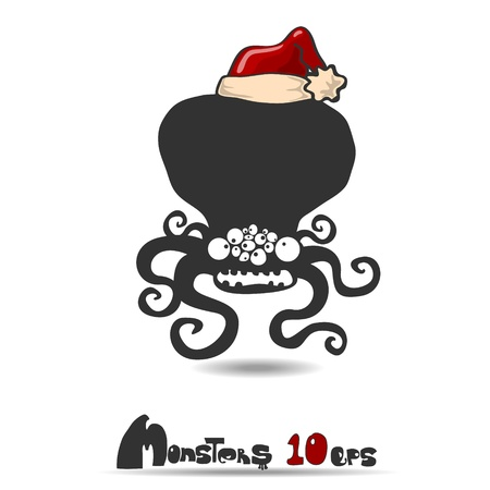 Black monster  Christmas theme  Vector illustration 10 eps Vector