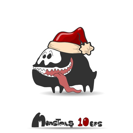 Black monster dog  Christmas theme  Vector illustration 10 eps Vector