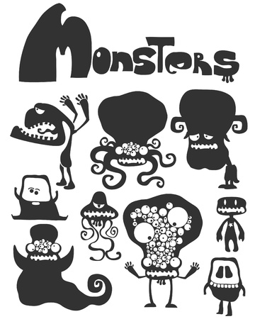 stencil art: The set of monsters.