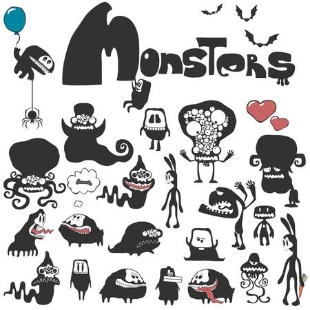 space invaders game: Set of monsters