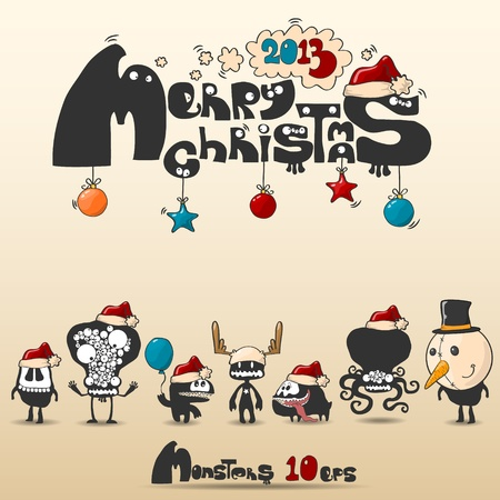Set of monsters  Christmas theme 10 eps Vector