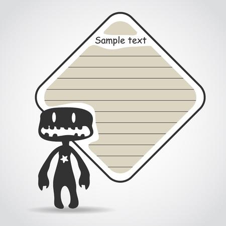 Cartoon black monster with message cloud. Stock Vector - 20630556