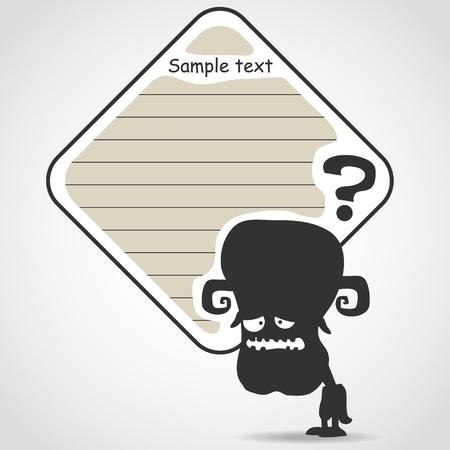 Cartoon black monster with message cloud.  Vector