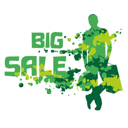 contrasty: Fashion man silhouette with shopping bags and spotty background. Big sale. Contrasty shopping decorative element. Fashion sketch and illustration.