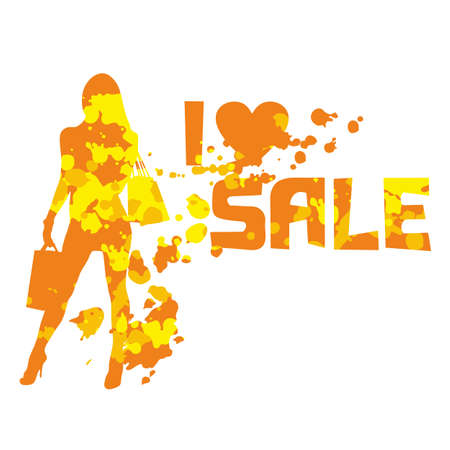 contrasty: Fashion girl silhouette with shopping bags and spotty background. I love sale. Contrasty shopping decorative element. Fashion sketch and illustration.
