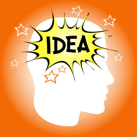 invent clever: New Idea Icon. The thoughts of a person. Illustration