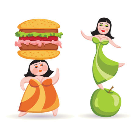 woman eating: Fat woman holding a hamburger on his head, slender woman is standing on the apple.