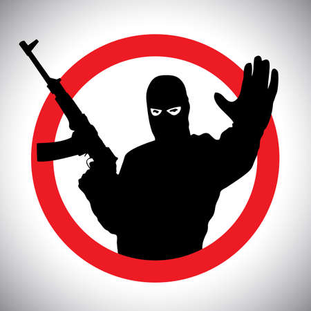 hand silhouette: Prohibitory signs silhouette of military man with his hand raised and a gun.