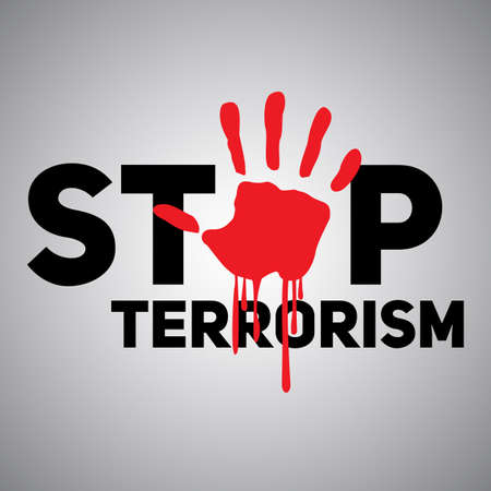 victim war: The text Stop terrorism with the imprint of a bloody hand. Illustration