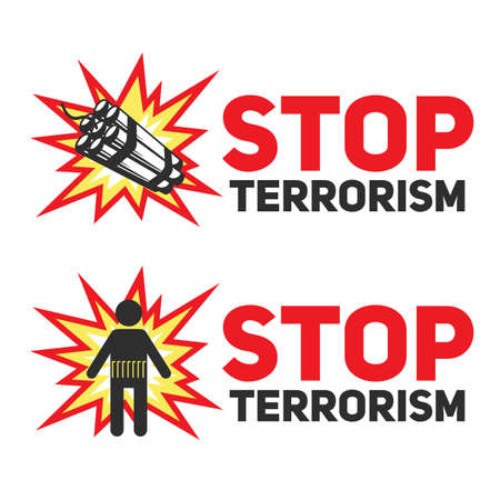 victim: Set of signs Stop terrorism with the dynamite and a silhouette of a suicide blast.