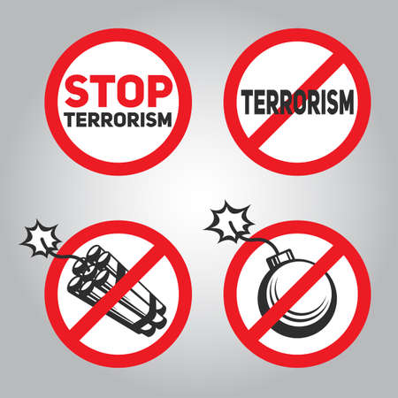 Prohibition sign with text Stop terrorism, a stick of dynamite and bombs. Illustration