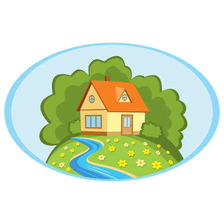 country house: Country house on a background summer landscape