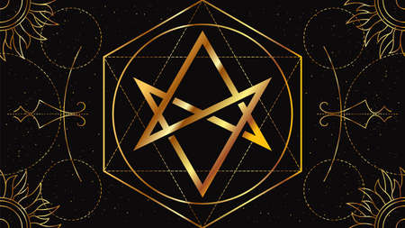 Flat image of the Aquarian Star. Occult signs of golden color on a black background with geometric ornament. Freemason symbol.