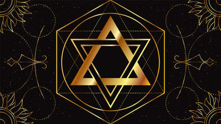 Seal of Solomon. Occult signs of golden color on a black background with geometric ornament. Freemason symbol. Illustration