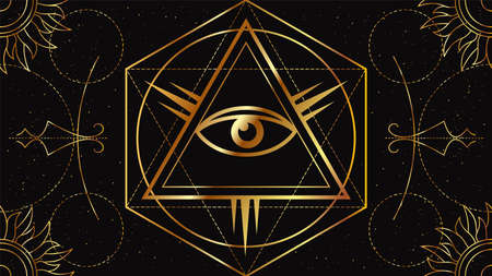Flat image of the All-seeing eye. Occult signs of golden color on a black background with geometric ornament. Freemason symbol.