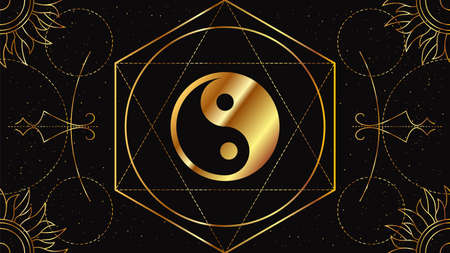 Tao Yin and Yang. The Chinese symbol of the unity of opposites. Magical sign of golden color on a black background with geometric ornament.