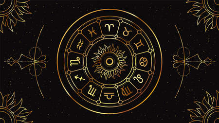 Zodiac circle with astrological signs on a black background with a geometric golden pattern. Illustration