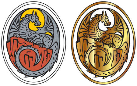 A dragon with wings and a tail sits on a rock. Vector drawing in flat color and golden gradient. Image for logo, tattoo, label.
