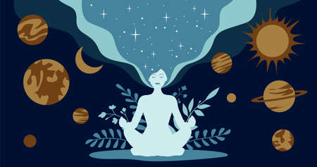 Silhouette of a meditating woman in lotus position. Against the background of astrological planets and the plant branches. Horizontal flyer.