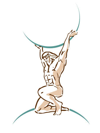 Atlas that holds the sky. God of Ancient Greece. Silhouette vector drawing. Фото со стока - 155392649
