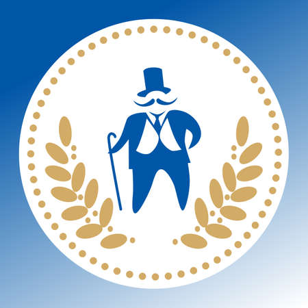 emblem capitalist, businessman with laurel wreath on a white background. Elite club.