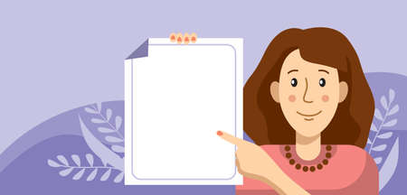 Young woman holding a blank poster in her hands. Flat illustration in cartoon style.