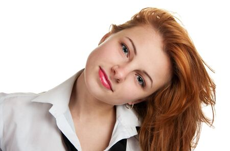 inclined: beautiful businesswoman  inclined a head Stock Photo