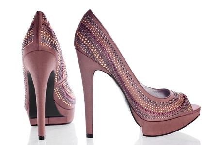 bronze pair of high heels Stock Photo