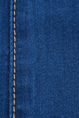Yellow seam on denim, background, texture photo