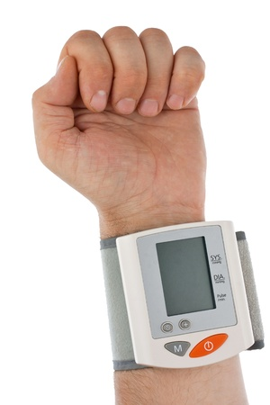 The hand with the tonometer  Isolated on white background  Stock Photo