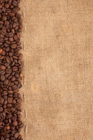 preparation for a coffee menu is made from coffee beans, line and burlap photo